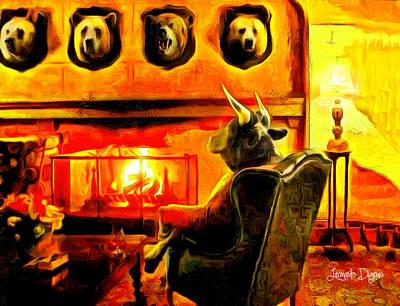 Bull Digital Art - Bull At Night - Da by Leonardo Digenio