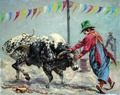 Rodeo Clown Painting - Bull Bait by Buster Kenton