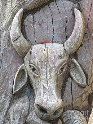 Bull Carved In Tree Original by John Malone