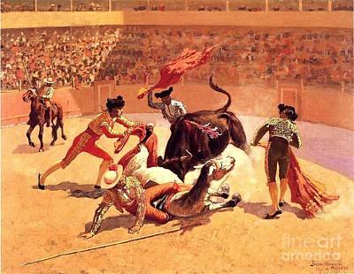 Bull Fight In Mexico Print by Roberto Prusso