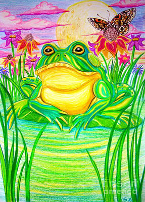 Amphibians Drawing - Bull Frog And The Moon by Nick Gustafson