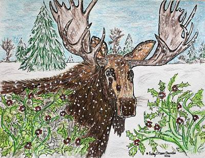 Bull Moose In The Wilderness Print by Kathy Marrs Chandler