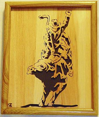 Scroll Saw Sculpture - Bull-rider by Russell Ellingsworth