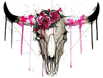Steer Drawing - Bull Skull by Mina Fordyce