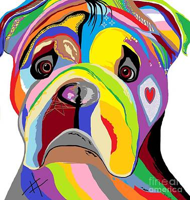 Companion Digital Art - Bulldog by Eloise Schneider