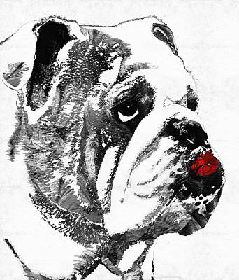 Funny Dog Painting - Bulldog Pop Art - How Bout A Kiss 2 - By Sharon Cummings by Sharon Cummings