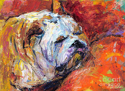 Sleeping Dogs Painting - Bulldog Portrait Painting Impasto by Svetlana Novikova