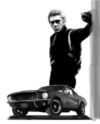 Bullitt Cool  Steve Mcqueen Print by Iconic Images Art Gallery David Pucciarelli