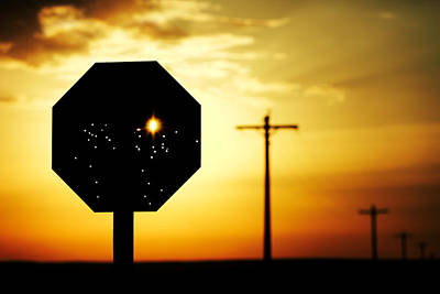 Silhouette Photograph - Bullet-riddled Stop Sign by Todd Klassy