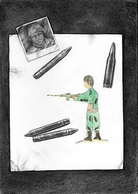 Dark Evil Scary Drawing - Bullets Don't Kill.people Do by Drawings Drawer