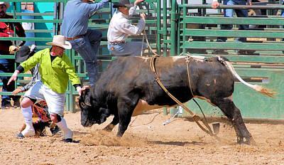Of Rodeo Bucking Bulls Photograph - Bullfighters And Barrelmen by Cheryl Poland
