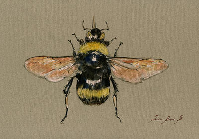 Bees Painting - Bumble Bee Art Wall by Juan  Bosco