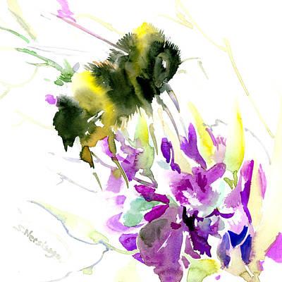 Bumblebee Drawing - Bumblebee And Flowers by Suren Nersisyan