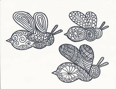 Bumblebee Drawing - Bumblebees by Jennifer Medlock