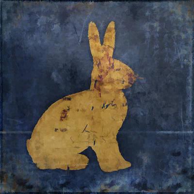 Bunny In Blue Print by Carol Leigh