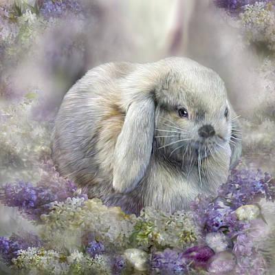 Egg Mixed Media - Bunny In Easter Lilacs by Carol Cavalaris