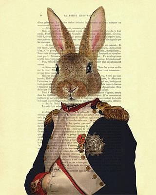 Napoleon Bonaparte Digital Art - Bunny Portrait Illustration by Madame Memento