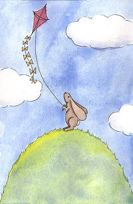 Rabbit Drawing - Bunny With A Kite by Christy Beckwith