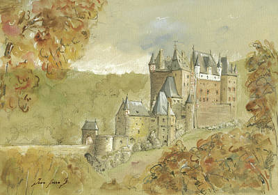 Castle Painting - Burg Eltz Castle by Juan Bosco