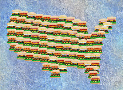 Onion Mixed Media - Burger Town Usa Map by Andee Design