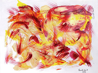 Free Form Painting - Burgundy And Gold Feathers by Brenda Hendrickson