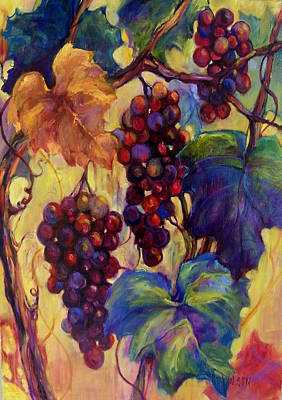 Burgundy Grapes Print by Peggy Wilson