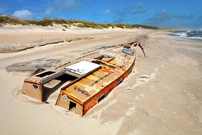 Buried Shipwreck Boat On The Outer Banks Print by Dan Carmichael