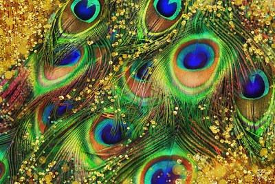 Buried Treasure, Fantasy Peacock Feathers Laden With Gold Print by Tina Lavoie