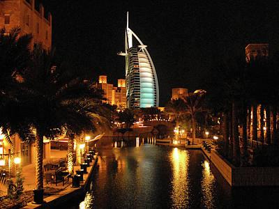 Gicl Photograph - Burj Al Arab By Night by Graham Taylor
