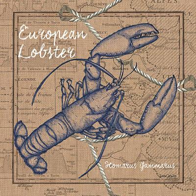 Burlap Lobster Print by Debbie DeWitt