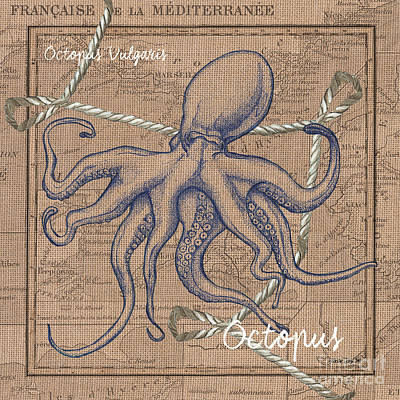 Burlap Octopus Print by Debbie DeWitt