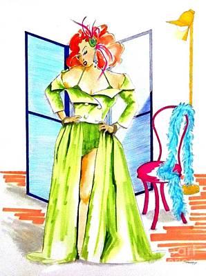 Boa Constrictor Mixed Media - Burly-que Babe -- Portrait Of Burlesque Dancer by Jayne Somogy