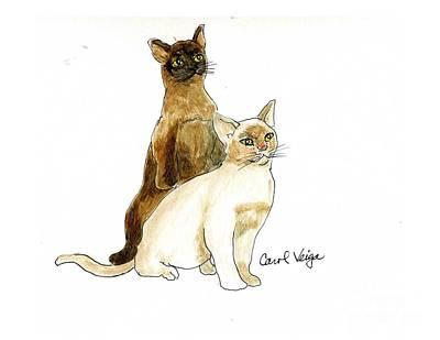 Burmese Python Mixed Media - Burmese Cats by Carol Veiga
