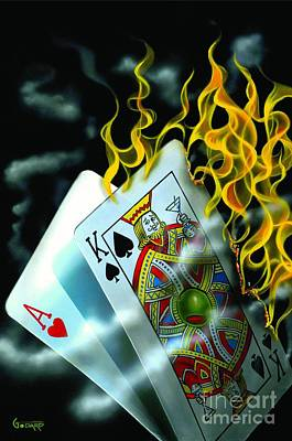 Gambling Painting - Burning Blackjack by Michael Godard