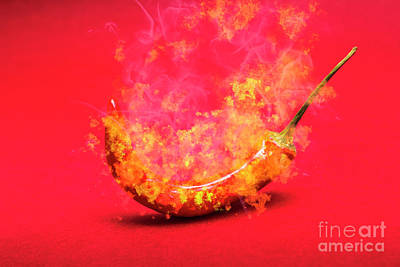 Burning Red Hot Chili Pepper. Mexican Food Print by Jorgo Photography - Wall Art Gallery