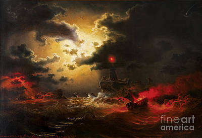 Marcus Painting - Burning Ship On Night Sea by Celestial Images
