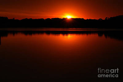 Burnt Orange Sunset On Water Print by Clayton Bruster
