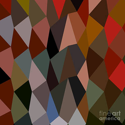 Burnt Umber Abstract Low Polygon Background Print by Aloysius Patrimonio