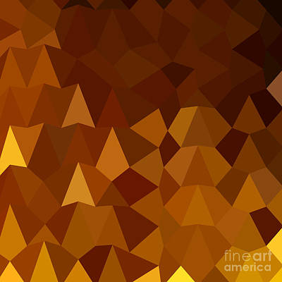 Burnt Umber Brown Abstract Low Polygon Background Print by Aloysius Patrimonio