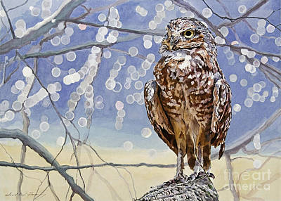 Endangered Wildlife Painting - Burrowing Owl by David Lloyd Glover