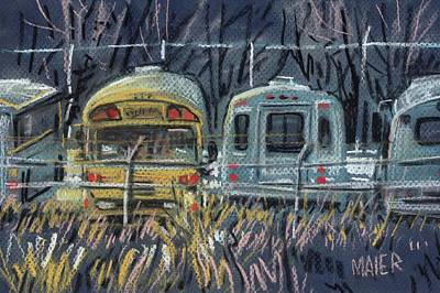 School Bus Drawing - Bus Parking by Donald Maier