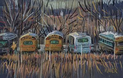 School Bus Drawing - Bus Storage by Donald Maier
