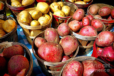 Farm Stand Photograph - Bushels Of Potatoes At A Farm Market by Olivier Le Queinec