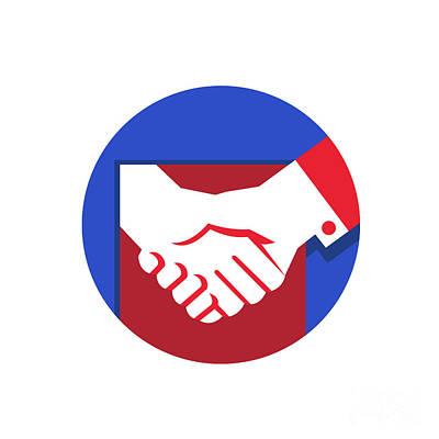 Business Deal Handshake Circle Retro Print by Aloysius Patrimonio
