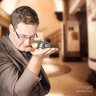 Business Man With Service Bell. Consumer Advice Print by Jorgo Photography - Wall Art Gallery
