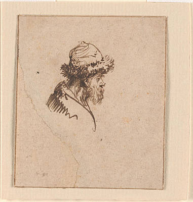 Bust Of A Bearded Man In A Round  Print by MotionAge Designs