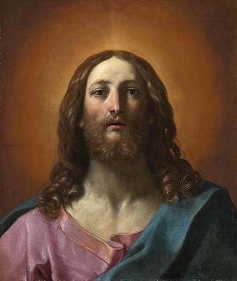 Guido Reni Painting - Bust Of Christ. Salvator Mundi by Guido Reni