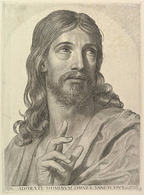 Drawing - Bust Of The Adult Christ by Claude Mellan