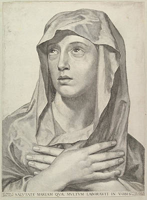 Drawing - Bust Of The Virgin by Claude Mellan