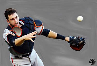 Baseball Painting - Buster Posey by Jeff DOttavio